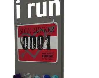 Running MEDAL holder, holder for medals and race bibs - I run graphic - Gifts for runners