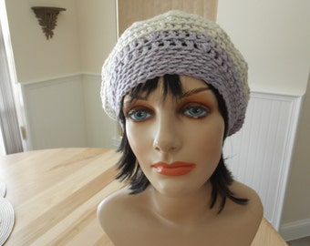 Beige Crochet Slouchy Beanie French Beret Tam Cold Weather Accessory Wool Slouchy Hat