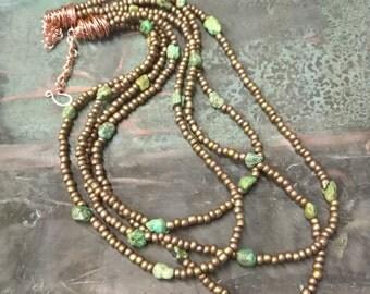 Copper Turquoise Boho Necklace copper bib necklace turquoise nuggets Art Copper Necklace Bohemian Chic - Boho Queen