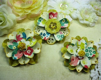 Crate Paper Random Colorful Handmade Paper Embellishments, Paper Flowers for Scrapbook Layouts Cards Mini Albums Tags and  Paper Crafts