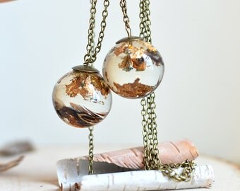 Feather necklace - gold leaf jewelry, sphere necklace, eco resin jewelry, gift under 50