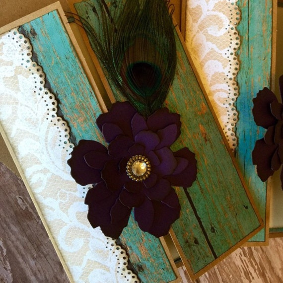 Peacock Wedding Ideas Etsy: Shabby Chic Peacock Wedding Invitation By JennyPie5 On Etsy