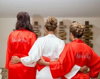 Bridesmaid Robes red bridesmaid silk robe burgundy kimono monogrammed robes silk satin robes maroon robe bridal shower party flower girl kid