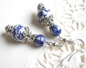 delft blue earrings blue earrings delft blue style dangle earrings delft blue jewelry blue floral earrings delft