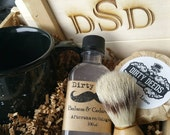 MONOGRAMMED Men's Shave Set in Deluxe Wood Box with Aftershave/Cologne,  Boar Brush, Mens Grooming