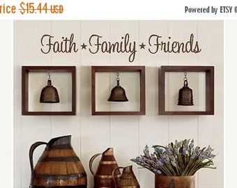 15% OFF Faith Family Friends -Vinyl Lettering wall words graphics Home decor itswritteninvinyl