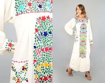 70's Embroidered MEXICAN Dress w/ Pockets
