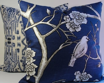 Navy floral blue birds trees cotton slub decorative pillow cover, Robert Allen designer Dwell Studio Vintage Blossom accent throw pillow