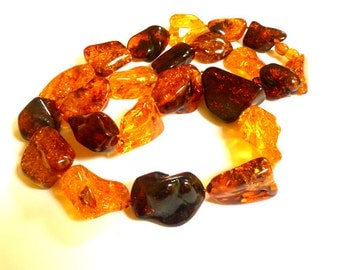"Baltic Amber Necklace Chunky Multicolor Beads Natural 28.3"" 113.3 gram"