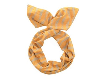 Twist Hair Scarf - Screen-printed Wire Headband - Gray Vines on Mustard
