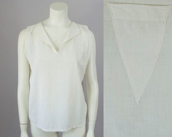 40s Vintage Off White Cotton Tailored Pajama Top with Triangle Pocket (S, M)
