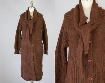 1970s Vintage Mohair Scarf Long Cardigan. 70s Knit Jacket (XS, S)