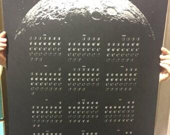 SALE Modern 2017 Lunar Phases Calendar Moon Phases Calendar Poster