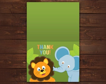 Jungle Thank you Cards, Folded Thank you Cards, Baby Shower thank you cards, Set of 10 with envelopes, any color