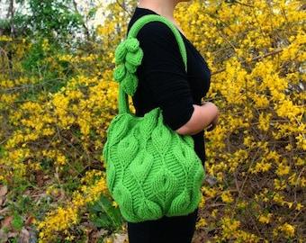 Crochet PATTERN: Embossed Leaves Purse
