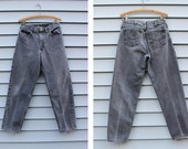 Vintage Vtg Vg 1980's Distressed CARHARTT Brand Grey Black Jeans With Tapered Leg 30 x 30 Unisex Adults Distressed Denim Jeans Rocker