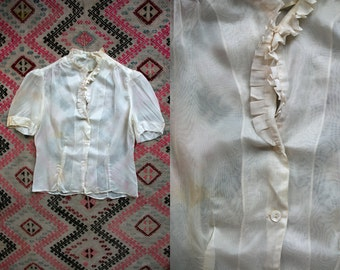 Vintage 1940's Cream Colored Short Sleeve Ruffled Blouse Top Women's Small Medium