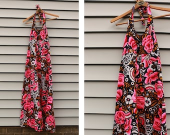 Vintage VTG VG 1970's 70's 1960's 60's NEON Floral Maxi Dress Halter Top Tie Back Retro Hippie Ankle Length Women's Medium Female Tropical