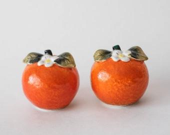 Ceramic Orange Salt and Pepper Shaker Set Made in Japan Mid Century Kitsch H H Japan