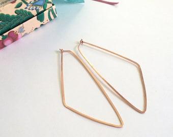 "Long Rose Gold Triangle Hoop Earrings Geometric Statement Earrings Hammered Wire Jewelry Tribal Earring 3"" Gold Hoops"
