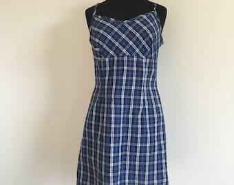 30% OFF Vintage 1990s Blue Plaid Babydoll Skater Mini Dress M/L -l