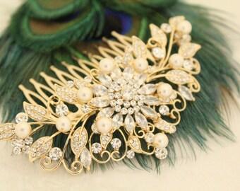 Bridal comb Gold Wedding Hair Accessory Cherry Blossom Bridal Comb Matt Gold Flower Leaf Comb Art Deco Hair Jewelry Swarovski Crystal Pearl