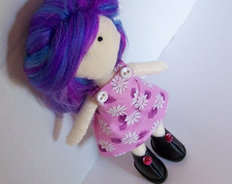 Felt doll, OOAK, fabric doll, cloth doll, hand-made, hand-sewn, kawaii, comes in handmade gift bag
