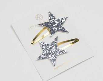 Silver star hairclips