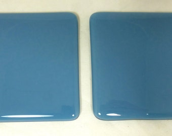 Fused Glass Coasters with Cool Cobalt Blue - set of 2