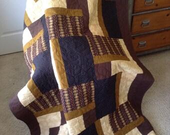"Brown - Jo Morton/Moda Fabrics -57"" x 77"" - Contemporary/Modern - Ready to Ship"