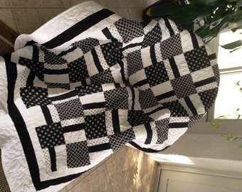 "Black & White Quilt - 54.5"" x 76.5"" - Contemporary/Modern Quilt - Ready to Ship"