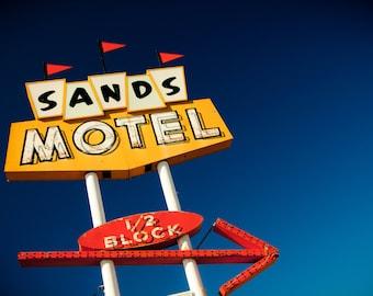 Sands Motel Neon Sign Photo - Mid Century Modern Decor - Route 66 Grants - Fine Art