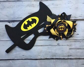 Girls Layered Batman Hair Bow and Mask Batman Hair Clip and Felt Mask superhero hair bow and mask set Batman hair bow and mask set