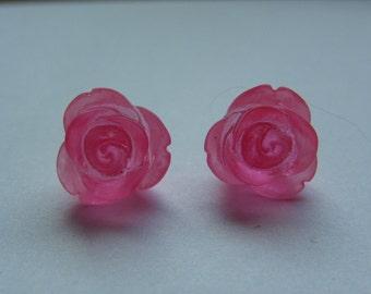 Pink Rose Stud Earrings    736