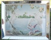 """Vintage 1950's Mid Century Egrets Bird Print by Turner 32.5 x 26.5"""" Mirror Frame"""