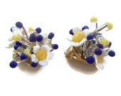 Vintage Glass Flower clip on Earrings, Made in Italy, Blue and Yellow, White Daisy