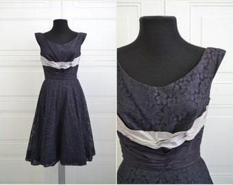 1950s Navy Lace and Taffeta Dress