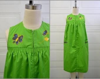 1970s Heiress Green Applique Housecoat