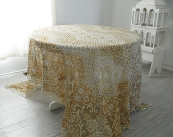 large tablecloth tan and beige floral cloth vintage tablecloth wedding decor shabby decor cottage chic decor table wares chic decor 72x112