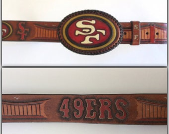 1970s San Francisco Football Tooled Leather Belt and Buckle HUGE 9ers Fan SF 9ers Buckle Football Fan Golden Gate Bridge Jackpot Jen Vintage