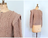 vintage 80s hand knit shetland wool sweater - 1980s cableknit / Pale Mushroom - taupe / ladies chunky pullover