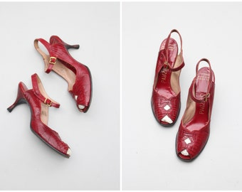 red lizard 1940s peep toe heels - vintage 40s slingbacks / Palizzio - 1940s peep toes - 40s ladies shoes / slingback sandals - 7 or 7.5 N