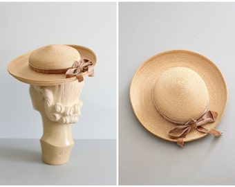 vintage 50s straw mini tilt topper - natural woven boater hat / 50s Italian straw hat - made in Italy / 40s ladies summer boater