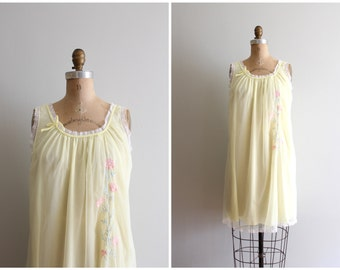 vintage 1960s pastel chiffon nightie - sheer nylon nightgown / vintage 60s nightie - pale yellow slip dress / Sweet Kawaii - fairy kei dress