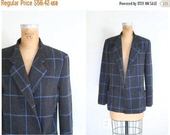 SALE / 1980s windowpane check wool jacket - ladies New Wave blazer / Charcoal Gray & blue - vintage 80s modern plaid  /Japan label