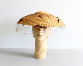 1950s straw wide brim ladies hat with veil / Saks Fifth Avenue - Debutante - new old stock / 50s New Look - summer netted sun hat