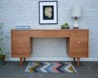 Society Desk - Solid Cherry - Clear Finish - Mid Century Modern Inspired