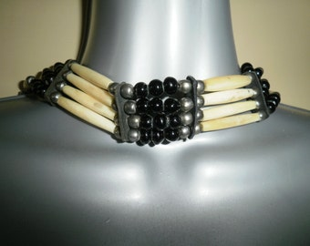 Vintage Native American Indian chocker with bone pipe black onix silver and leather