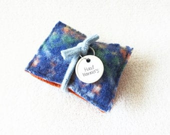 Handwarmers BLUE & ORANGE Felted Fair Isle Wool Sweater Ecofriendly Reusable Rice Bags Hand Warmers Stocking Stuffer Teacher Gift WormeWoole