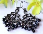 Black Peacock Earrings, Chandelier Earrings, Dangle Earrings, Drop Earrings, Bridal Jewelry, Modern, Goth, Gothic, Valentine Gift for Her